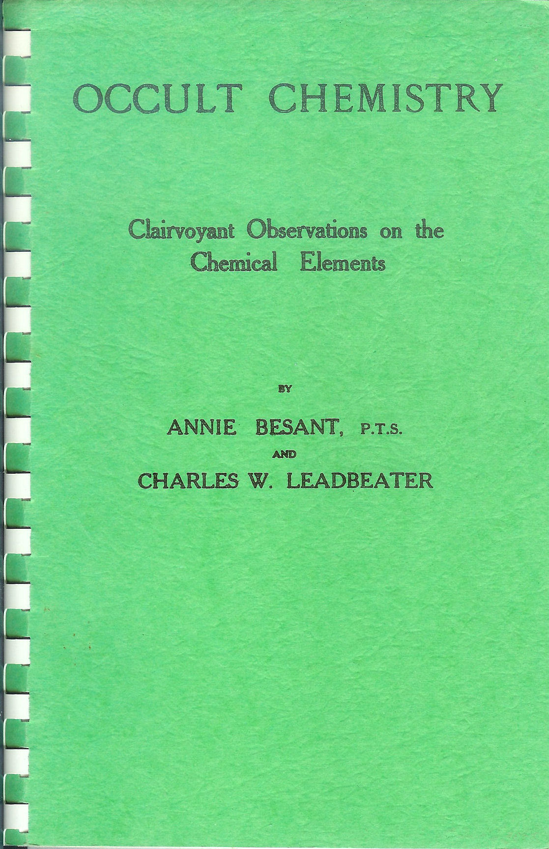 Occult Chemistry By Annie Besant And C W Leadbeater Pdf Books