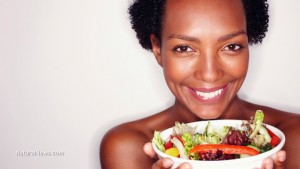 Woman-Having-Salad-Happy-Beauty