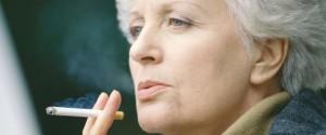 Senior woman smoking