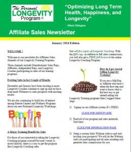 January 2016 Affiliate Newsletter